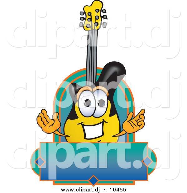 Vector of a Cartoon Guitar Above Blank Blue Green Banner