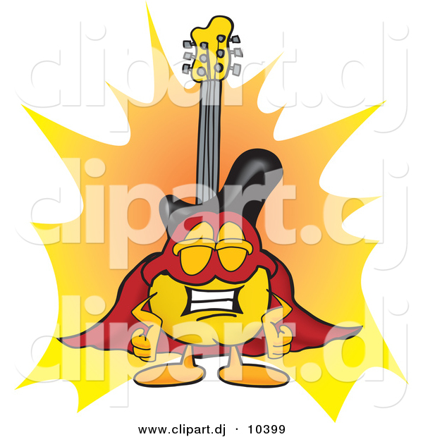 Vector of a Cartoon Guitar Dressed As a Super Hero