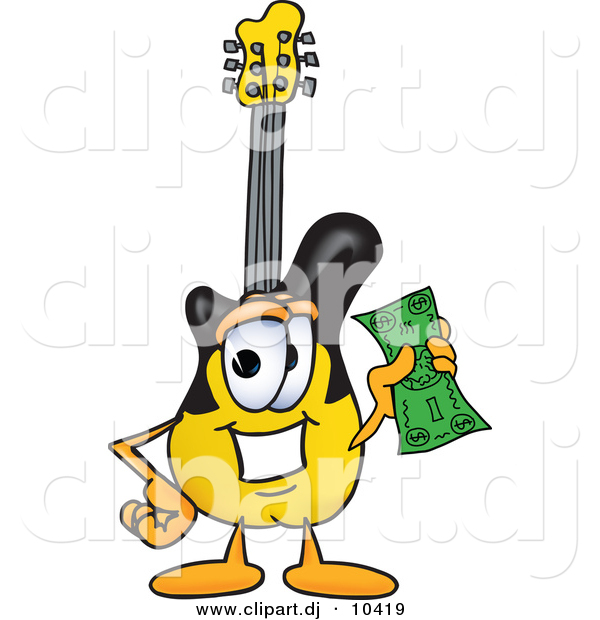 Vector of a Cartoon Guitar Holding a Dollar Bill