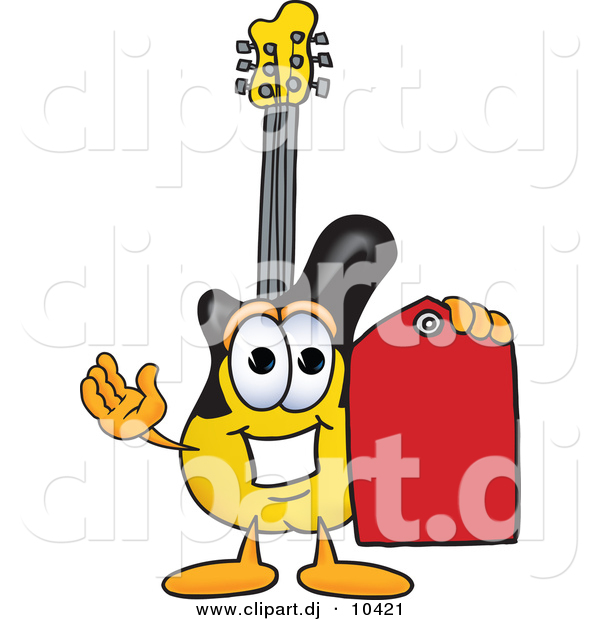 Vector of a Cartoon Guitar Holding a Red Sales Price Tag