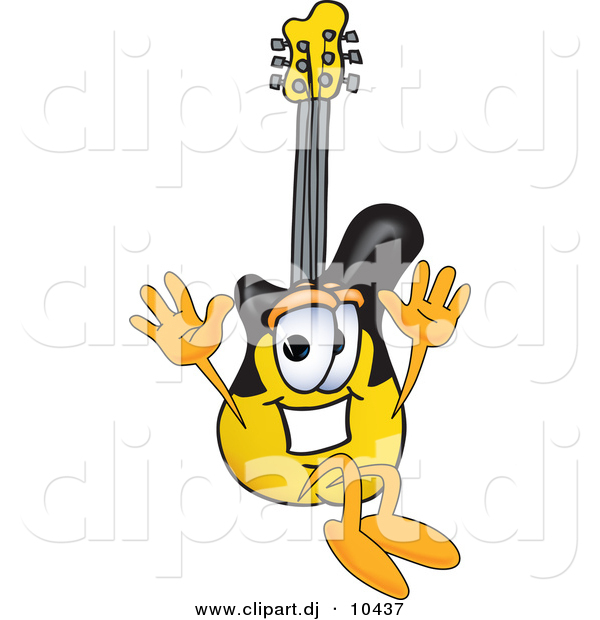 Vector of a Cartoon Guitar Jumping