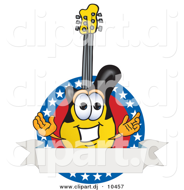 Vector of a Cartoon Guitar Logo with Stars and a Blank Label