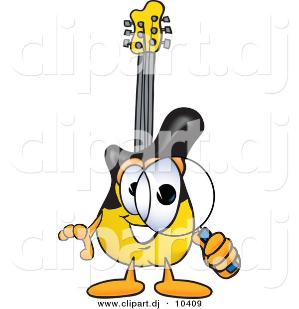 Vector of a Cartoon Guitar Looking Through a Magnifying Glass