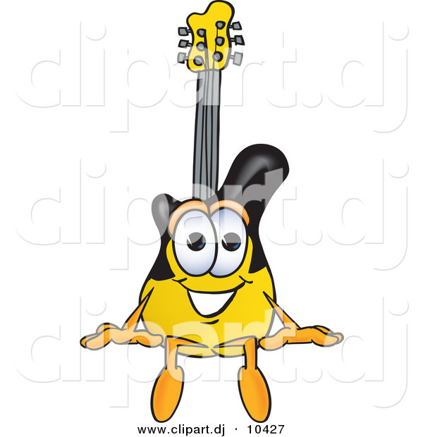 Vector of a Cartoon Guitar Sitting