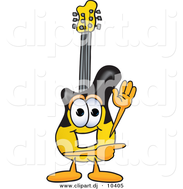 Vector of a Cartoon Guitar Waving and Pointing