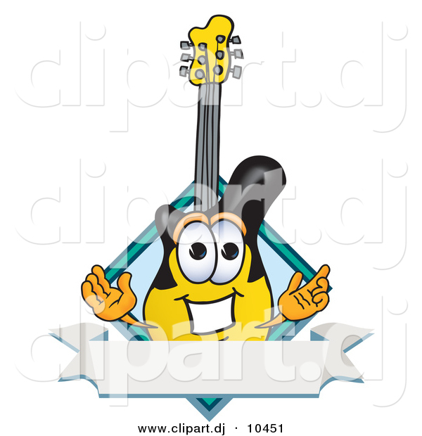 Vector of a Cartoon Guitar with a Blank Label Banner