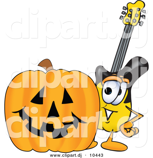 Vector of a Cartoon Guitar with a Carved Halloween Pumpkin