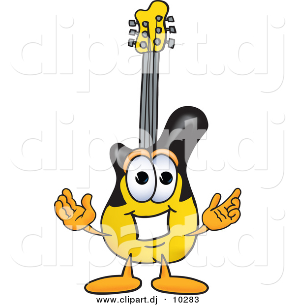 Vector of a Cartoon Guitar with Welcoming Open Arms