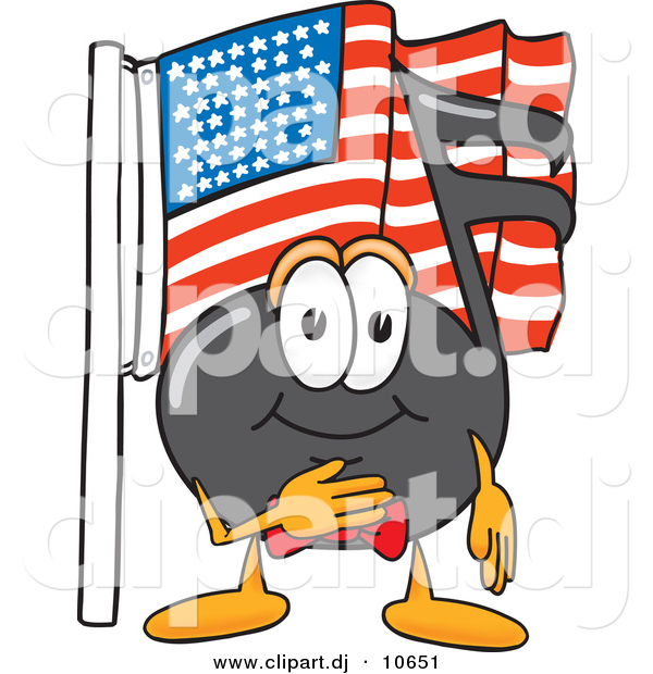 Vector of a Cartoon Music Note Pledging Allegiance to an American Flag