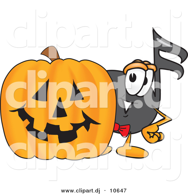 Vector of a Cartoon Music Note with a Carved Halloween Pumpkin