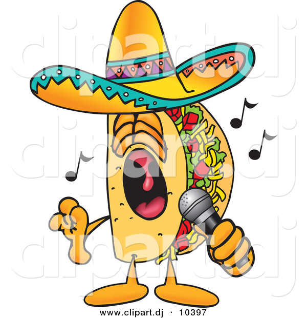 Vector of a Cartoon Taco Singing Loud into a Microphone