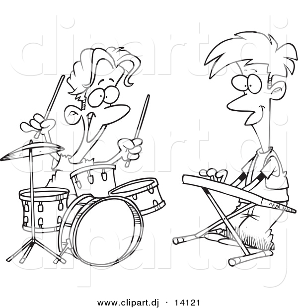 Vector of Cartoon Boys Drumming and Keyboarding in a Band - Coloring Page Outline