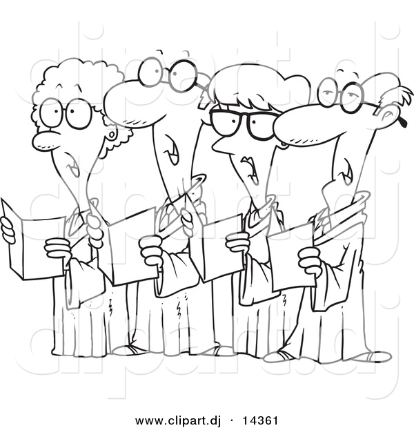 Vector of Cartoon Choir with 4 Senior Men and Women Singing - Coloring Page Outline