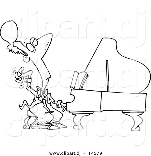Vector of Cartoon Fancy Pianist - Coloring Page Outline