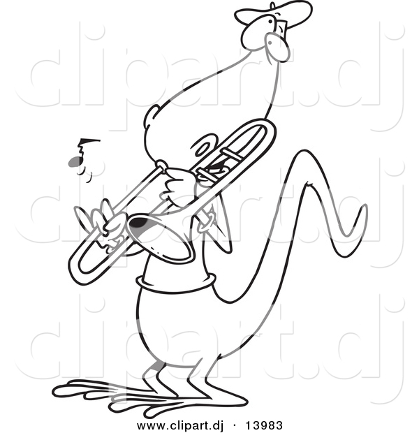 Vector of Cartoon Lizard Playing a Trombone - Coloring Page Outline