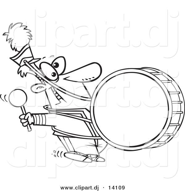 marching band coloring pages - vector of cartoon marching band drummer coloring page