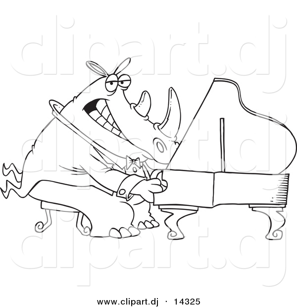 Vector of Cartoon Rhino Pianist - Coloring Page Outline
