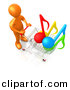 3d Cartoon Clipart of a Orange Man Pushing Shopping Cart with Music Notes by 3poD