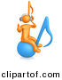 3d Cartoon Clipart of a Orange Man Wearing Wireless Headphones While Sitting on a Blue Music Note by 3poD