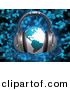 3d Clipart of a Blue Globe Wearing Headphones over Blue Music Notes Background by 3poD
