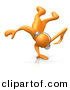 3d Clipart of a Cartoon B-Boy Orange Man Breaking on One Hand While Listening to Music on Wireless Headphones by 3poD