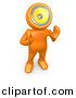 3d Clipart of a Cartoon Orange Man with Loud Speaker Head Hollering out by 3poD