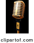 3d Clipart of a Gold Metal Microphone on Black by Andresr