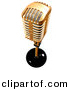 3d Clipart of a Gold Metal Microphone on White by Andresr