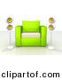 3d Clipart of a Green and White Chair Centered Between 2 Surround Sound Speakers by 3poD