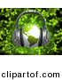 3d Clipart of a Green Globe Wearing Headphones over Green Music Notes Background by 3poD