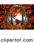 3d Clipart of a Red Globe Wearing Headphones over Red Music Notes Background by 3poD