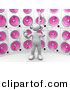 3d Clipart of a White Person Standing in Front of Huge Pink Speaker Wall by 3poD