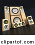 3d Clipart of a Wooden Sound System Set over Black Background by Franck Boston