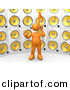 3d Clipart of an Orange Guy Standing in Front of Wall of Speakers by 3poD