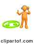 3d Clipart of an Orange Man Listening to Music on Wireless Headphones While Standing Beside Green Music Note by 3poD