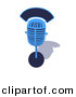 3d Vector Clipart of a Blue Retro Microphone by Julos