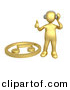3d Vector Clipart of a Gold Guy Listening to Music by 3poD