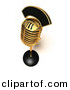 3d Vector Clipart of a Gold Metal Retro Microphone by Julos