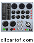 3d Vector Clipart of a Mixing Music Console Sound Board with Many Buttons by AtStockIllustration