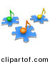 3d Vector Clipart of Different Colored Music Notes on Blue Puzzle Pieces by 3poD