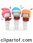 Cartoon Clipart of 3 White Kids Singing Outdoors While Looking at Music Books and Wearing Winter Hats by BNP Design Studio