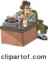 Cartoon Clipart of a Male Disc Jockey (DJ) Putting Record on Music Player by Dennis Cox