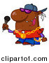 Cartoon Vector Clipart of a Black Rapper Guy Singing by Hit Toon