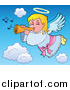 Cartoon Vector Clipart of a Blond Caucasian Angel Girl with a Wand by Visekart