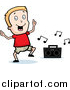 Cartoon Vector Clipart of a Blond White Boy Dancing to Music by Cory Thoman
