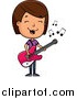 Cartoon Vector Clipart of a Brunette Adolescent White Teenage Girl Playing a Guitar by Cory Thoman