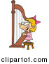Cartoon Vector Clipart of a Cartoon Blond White Girl Playing a Harp by Ron Leishman