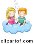 Cartoon Vector Clipart of a Cartoon Boy and Girl Listening to Love Songs While Sitting on a Cloud by BNP Design Studio