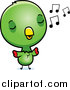 Cartoon Vector Clipart of a Cute Green Baby Parrot Singing by Cory Thoman