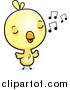 Cartoon Vector Clipart of a Cute Yellow Chick Whistling by Cory Thoman